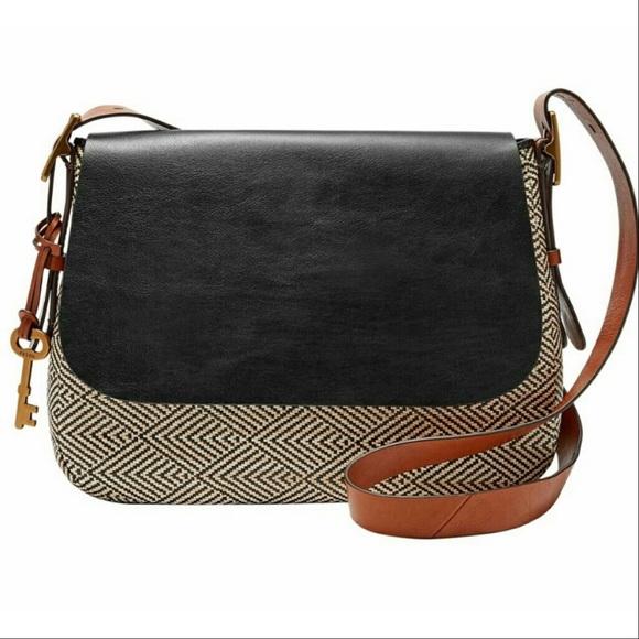 ce5ce1811b62 Fossil Handbags - Fossil Harper Large Tweed Leather Crossbody Bag